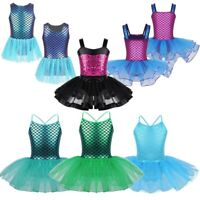 Kids Girls Mermaid Ballet Dance Dress Leotard Gymnastics Ballerina Fancy Costume