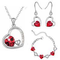 Romantic Red Hearts Love Theme Valentines Bracelet Necklace Set Stud Earrings