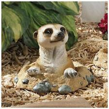 Meerkat Out of Hole Garden Sculpture Statue Flowerbed Outdoor Decor