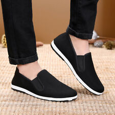 Mens Kung Fu Shoes Rubber Sole Tai Chi Martial Arts Slippers Chinese Style Black