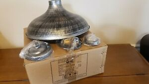 """14"""" Wide Industrial Ceiling Light Lamp Barn Fixture Pendant Dome Rust Silver NEW"""