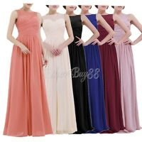 Women Ladies Chiffon Lace Bridesmaid Dress Long Evening Cocktail Formal Gown UK