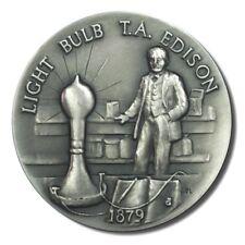 Great American Triumphs Light Bulb T. A. Edison 1.15 oz Sterling Silver 1879 COA