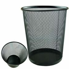 More details for 10'' metal mesh black wire bin rubbish paper waste home office bedroom sturdy