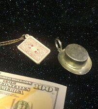 Magic Jewelry Playing Card on Chain & Silver Color Top Hat