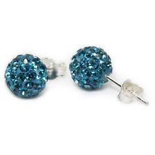 Auténtica Plata Esterlina Shamballa Bola de Cristal Pendientes con Pasador 6mm (Azul Capri)