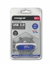 Integral 64GB COURIER USB 3.0 Flash Drive with AES 256-bit Hardware Encryption.