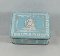Small Teal Rectangle Lady Playing Harp with Child Tin