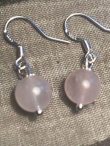 Rose Quartz Gemstone Earrings In Solid 925 Sterling Silver Gift Bag - Free P&P