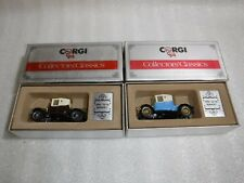 2x Corgi Collectors Classics C862 1910 12/16 Renault in Blue And Brown Car Boxed