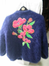 "MOHAIR MIX BLUE CARDIGAN JACKET FULLY SATIN LINED XXL  42-44"" BUST GOOD USED"