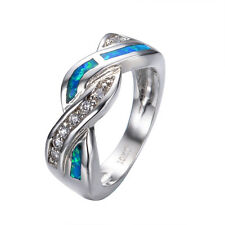 Blue Fire Opal CZ Cross Wedding Band Ring 10KT White Gold Filled Women Size 5-10