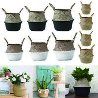 Foldable Home Flower Plant Pot Vase Hanging Basket Seagrass Woven Storage Bag