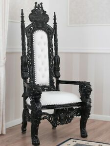 Throne Lion Dark Baroque style royal armchair black lacquered faux leather white