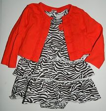 CARTERS girls Brown White ZEBRA DRESS Orange Sweater 2-pc OUTFIT* 18 months