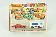 Matchbox TP-7 Emergency Set 1975 Two Packs Ambulance Fire Chief Car