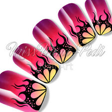 Nail Art Water Slide Decals Transfers Sticker Halloween Gothic Black Flame K185A