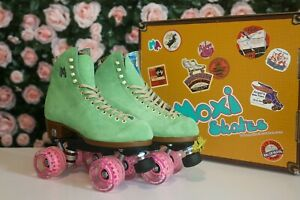 Moxi Lolly Custom Roller Skates Honeydew Green & Pink Wheels – Size 7 (w8-8.5)