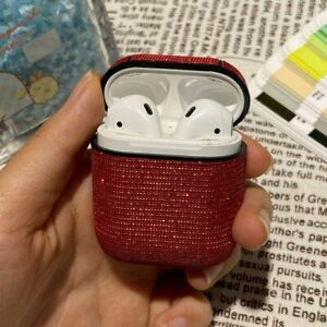 Cocomii Leather AirPods Case-Red Glitter Hard Case-NEW-SEALED-FAST SHIPPING