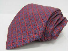 Hermes Men's 100% Red & Blue Criss-Cross Polka Dot Neck Tie Made in France