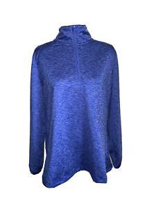 Lands' End Sport Pullover 1/2 Zip Active Top Shirt Stretch Blue Women's XL 18