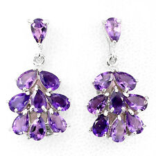 Sterling Silver 925 Genuine Natural Purple Amethyst Flower Design Earrings