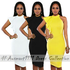 Casual Summer Work Wear Sleeveless Midi Stretch Bodycon Party Function Dress Small AU 8-10 Yellow Polyester 95 Spandex 5 One Shoulder Knee-length