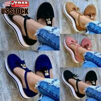 Women's T-Bar Sandals Tassel Round Toe Ankle Strap Flat Chunky Heel Summer Shoes
