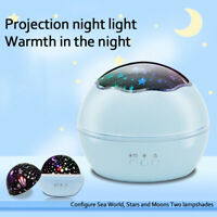 Starry Night Sky Projector Lamp Kids Baby Gift Moon Star Light 360° Rotating