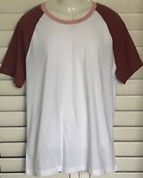Men's Arizona Jean Co. SS Raglan T-Shirt XXL - White Tee w Apple Sleeve 2XL NWT