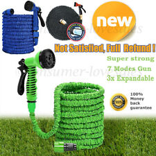 More details for 50-200ft heavy duty expandable garden hose flexible pipe 7 pattern spray gun uk