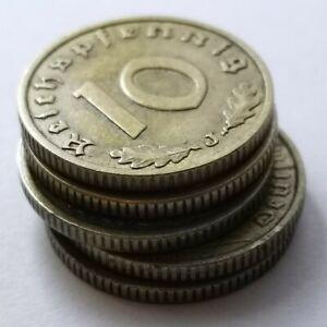 German 10 Reichspfennig BRASS Coins Lot of 5 coins WW2
