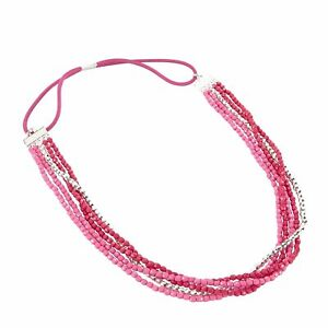 Vera Bradley Beaded Stretch Headband in Pink Swirls