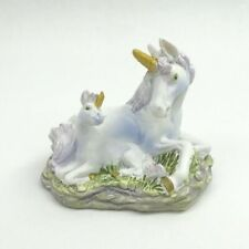 Mini Unicorn Figurine With Baby Pink Mane & Tail Mythical Fantasy Statue 3