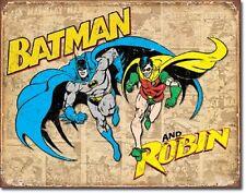 Batman and Robin TIN SIGN vtg retro metal wall decor dc comics superheroes  1826