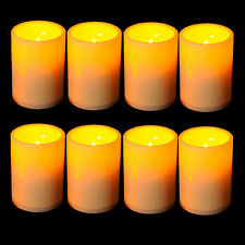 8x New Outdoor/Indoor Flameless Resin Pillar LED Candle Light 4 & 8 Hour Timer
