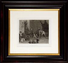 "Antique Engraving ""Three Prisoners"" 1880s Photogravure Art, dogs, Make Offer!"