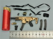 P 1/6 Scale Gold Submachine Gun Set for Vts Toys Vm-019 The Darkzone Agent-Tracy