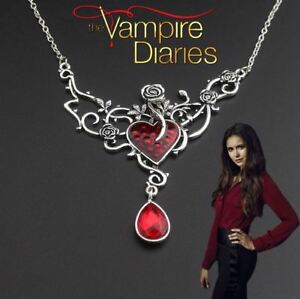 """""""The Vampire Diaries"""" Elena Gilbert Antique Twin Ruby Pendant & Necklace Set"""