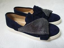 VINCE CAMUTO BARITA BLUE SUEDE RHINESTONE SNEAKERS SIZE 9 1/2 W - NEW
