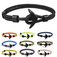 Metal Black Anchor Polyester Rope Men Boy Surfer Army Fashion Wristband Bracelet
