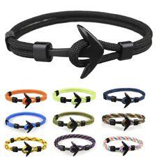 Metal Black Anchor Polyester Rope Men Boy Surfer Army Fashion Wristband Bracelet