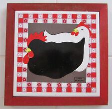 Ceramic-Tile-Trivet-Red-Wood-Frame-Chicken-Design-Linda-Morga