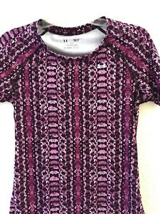 UNDER ARMOUR UA Pink Purple Blk Snakeskin Print Short Sleeve Shirt Fitted Small