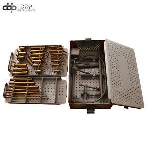German Mis Retractor System Tubular W/ Sterilization Box Gold Coated RT-027