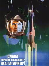 PROPAGANDA GAGARIN COSMONAUT ROCKET SPACE USSR POSTER ART PRINT 30X40 CM BB2453B