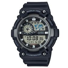 Casio Watch * AEQ200W-1AV Illuminator World Time Anadigi Black COD #crazy1212