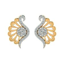 18k Solid yellow gold 0.30CT Genuine Natural DIAMOND Feather Wings Stud earrings