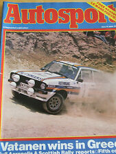 AUTOSPORT MAGAZINE JUN 1981 VATANEN WINS IN GREECE SCOTTISH RALLY LE MANS CADWEL