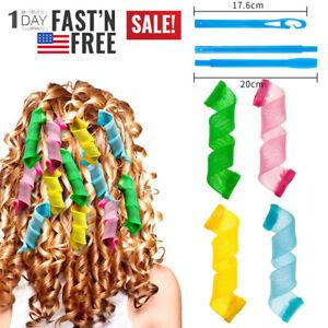 36PCS DIY Spiral Curls No Heat Wave Long Hair Curlers Styling Kit Tool Magic DIY